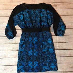Andrew Marc Mansion Pool print cold shoulder dress